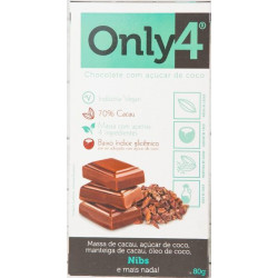 Chocolate Nibs de Cacau 70% 80g Only4